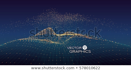 Abstract Landscape Vector. Particle Wireframe. Big Flow. Cyber Concept. Futuristic Graphic. Relief S Stock photo © pikepicture