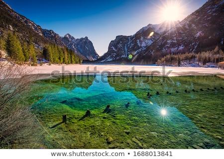 lake dobbiaco in the dolomites italy stock photo © cookelma