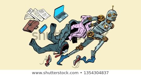Robot uit menselijke muur pop art Stockfoto © studiostoks
