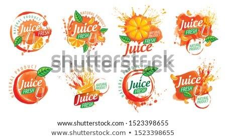 Set vettore succo d'arancia splatter logos bianco Foto d'archivio © butenkow