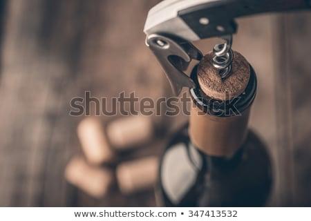 Geöffnet Flasche Wein Korkenzieher Kork Alkohol Stock foto © artjazz