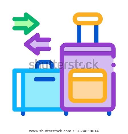 Vándorlás poggyász ikon vektor skicc repülőgép Stock fotó © pikepicture
