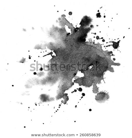 set of black watercolor splatter stain texture Stock photo © SArts
