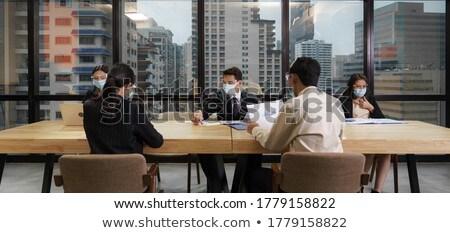 社会 距離 オフィス ビジネスチーム 着用 顔 ストックフォト © vichie81