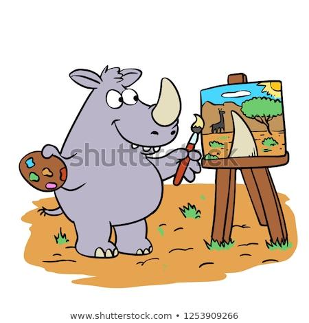 Orrszarvú festő derűs rajz illusztráció vektor Stock fotó © derocz