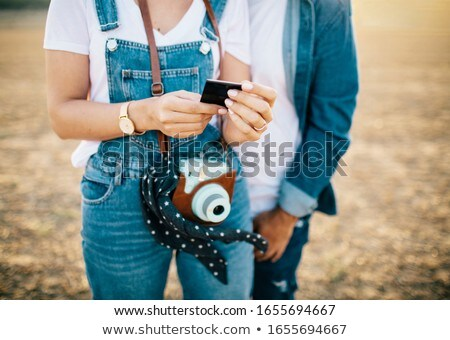 Fine picture of walkinng young couple Stock photo © konradbak