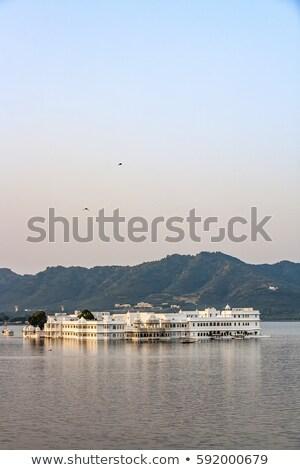 göl · saray · ışık · Bina · dağ - stok fotoğraf © meinzahn