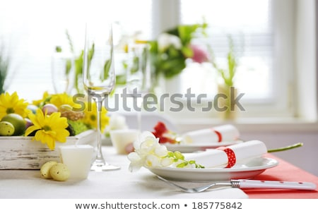 spring easter set with white dish and egg stock photo © dariazu