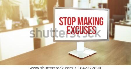 Stop szó iroda szerszámok fa asztal iskola Stock fotó © fuzzbones0