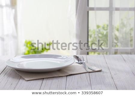 Blanche plaque table table en bois texture bois Photo stock © fuzzbones0