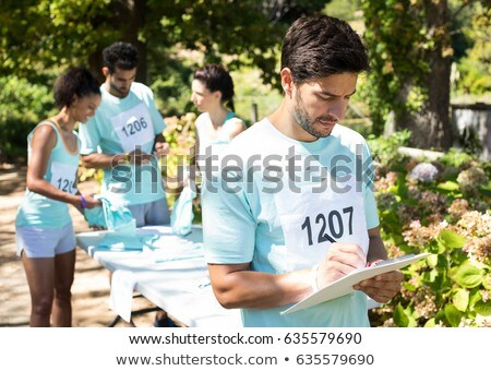 Stock photo: Athletes registering themselves for marathon