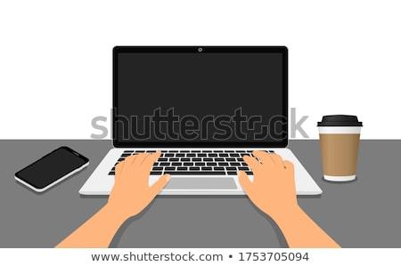Mano humana de trabajo portátil usando la computadora portátil estetoscopio Foto stock © AndreyPopov