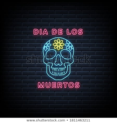 Day of the Dead Neon Banner Design Stock photo © Anna_leni