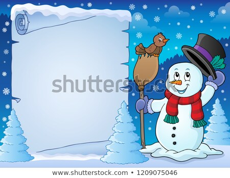 Winter snowman subject parchment 2 Stock photo © clairev