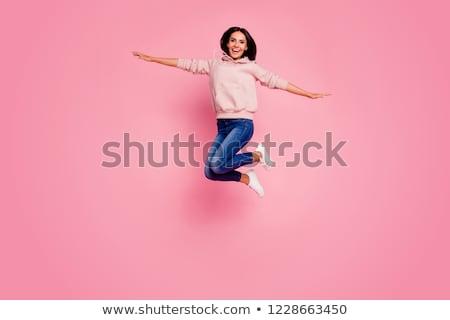 Portré izgatott lány visel ugrik izolált Stock fotó © deandrobot