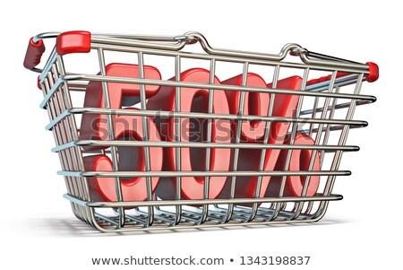 çelik · alışveriş · sepeti · 50 · yüzde · imzalamak · 3D - stok fotoğraf © djmilic