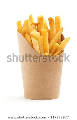 Bowl of potatoe fries on a white background Stock photo © joannawnuk