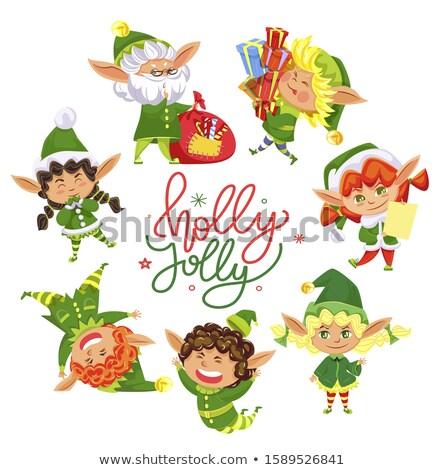 Holly Jolly Christmas Elves Circle Greeting Card Stock photo © robuart