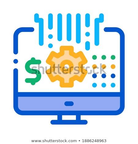 Számítógép beállítások ikon vektor skicc illusztráció Stock fotó © pikepicture