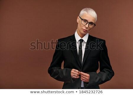 Komoly férfi kabát nyakkendő nő szexi Stock fotó © pzaxe