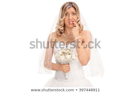 Stock foto: Braut · beißen · Schleier · Porträt · Gesicht
