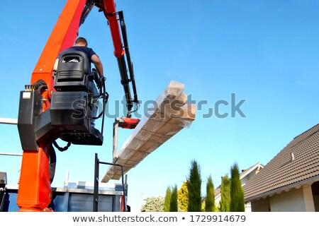 Foto stock: Viga · construção · guindaste · edifício · em · movimento