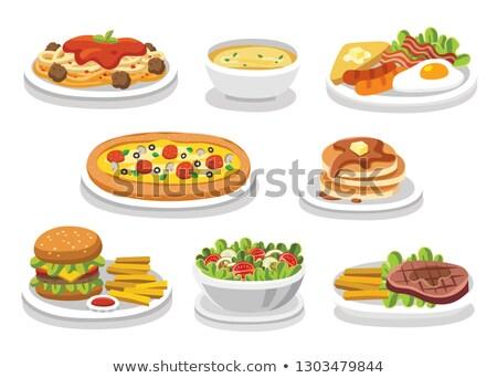 hamburger · tányér · sültkrumpli · étel · szendvics · paradicsom - stock fotó © M-studio