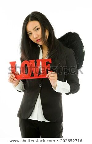 Désappointé femme d'affaires rouge amour texte Photo stock © bmonteny