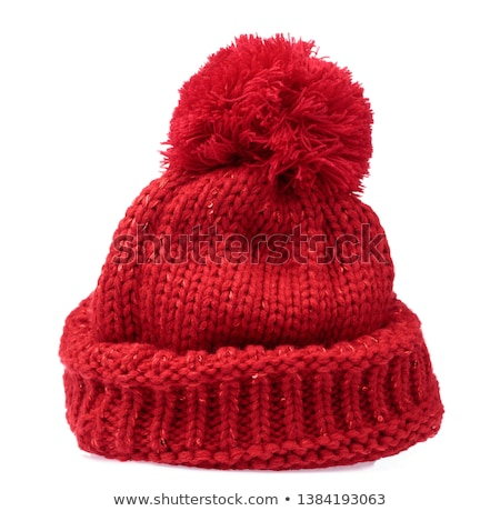De punto sombrero madera nieve invierno azul Foto stock © yelenayemchuk