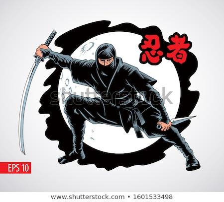 Szamuráj nindzsa kard férfi naplemente háttér Stock fotó © adrenalina