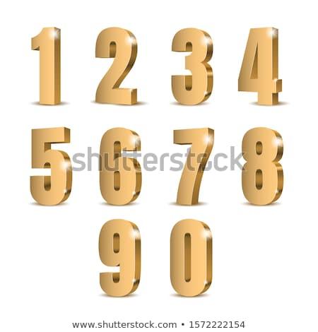 8 number vector golden web icon stock photo © rizwanali3d