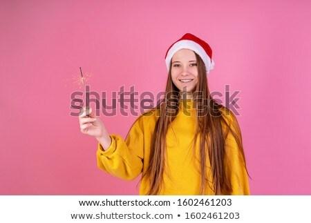 Gyönyörű mosolyog női tart meleg ruha tél Stock fotó © dariazu