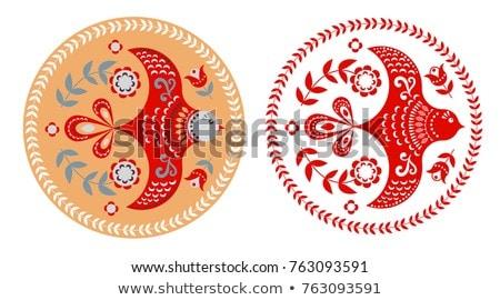 Madár körkörös piros vektor ikon terv Stock fotó © rizwanali3d