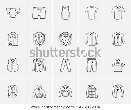 Pulóver vállfa rajz ikon vektor izolált Stock fotó © RAStudio