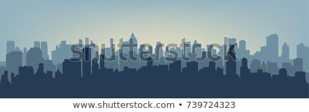 Város sziluett öreg épületek drámai égbolt Stock fotó © elwynn