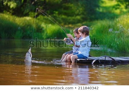Сток-фото: мальчика · рыбалки · реке · портрет · лес