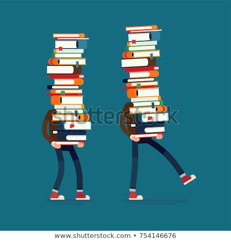 Student standing on a pile of books at library Stock photo © IS2