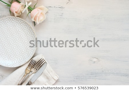 served table in restaurant in flat style cafe stock photo © marysan
