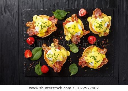 Yumurta tepsi gıda yeşil çalışma domates Stok fotoğraf © Alex9500