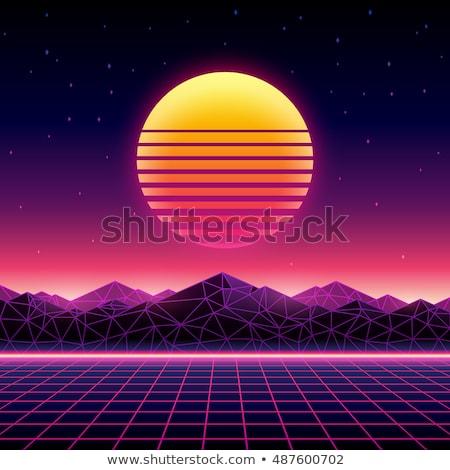fütüristik · 80s · neon · güneş · yeni · Retro - stok fotoğraf © AisberG