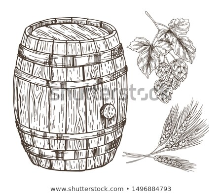 Stock photo: Raw Set for Beer Reproduction with Wooden Barrel