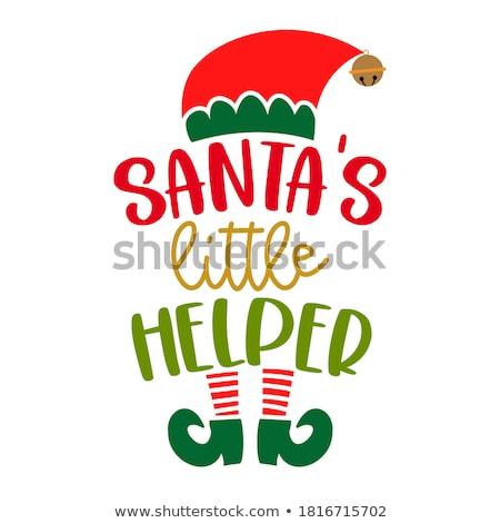 Elf christmas illustratie kerstboom leuk Rood Stockfoto © colematt