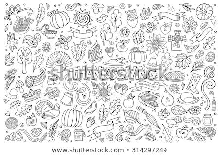 Foto stock: Cartoon Hand Drawn Doodle Thanksgiving Sketchy Design