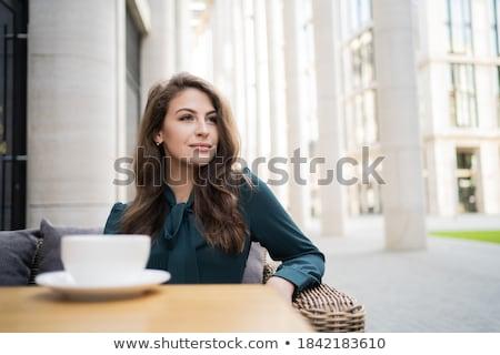 Kadın tek başına kafe şişman işkadını oturma Stok fotoğraf © ElenaBatkova