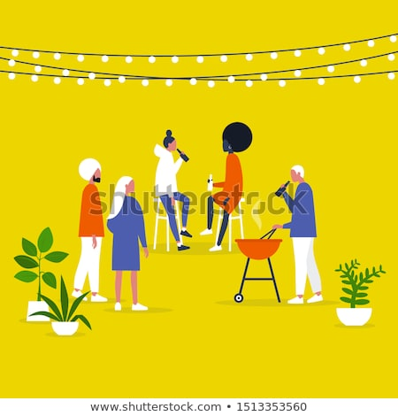 Friends Gathered on Barbeque Party Outdoors Vector Stock photo © robuart