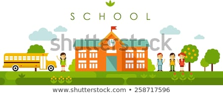 Stock photo: Landscape with school bus, school building and people.