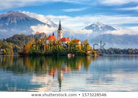 Jezioro Słowenia panoramiczny widoku kościoła mały Zdjęcia stock © fazon1