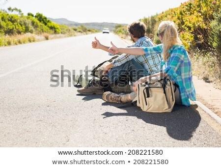 Csinos természetjáró lány nő autó tavasz Stock fotó © cardmaverick2