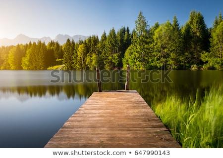 Houten pier verweerde water wolken hout Stockfoto © Pietus