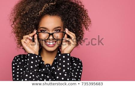 улыбающаяся · женщина · пальцы · ушки · фотография · женщину · лице - Сток-фото © photography33